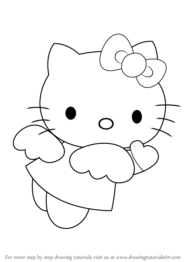 learn how to draw hello kitty angel hello kitty step by step