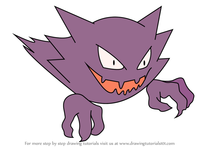 Learn how to draw haunter from pokemon pokemon step by step drawing tutorials