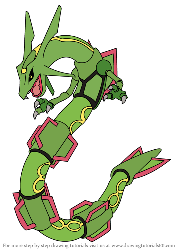 Learn how to draw rayquaza from pokemon pokemon step by step drawing tutorials