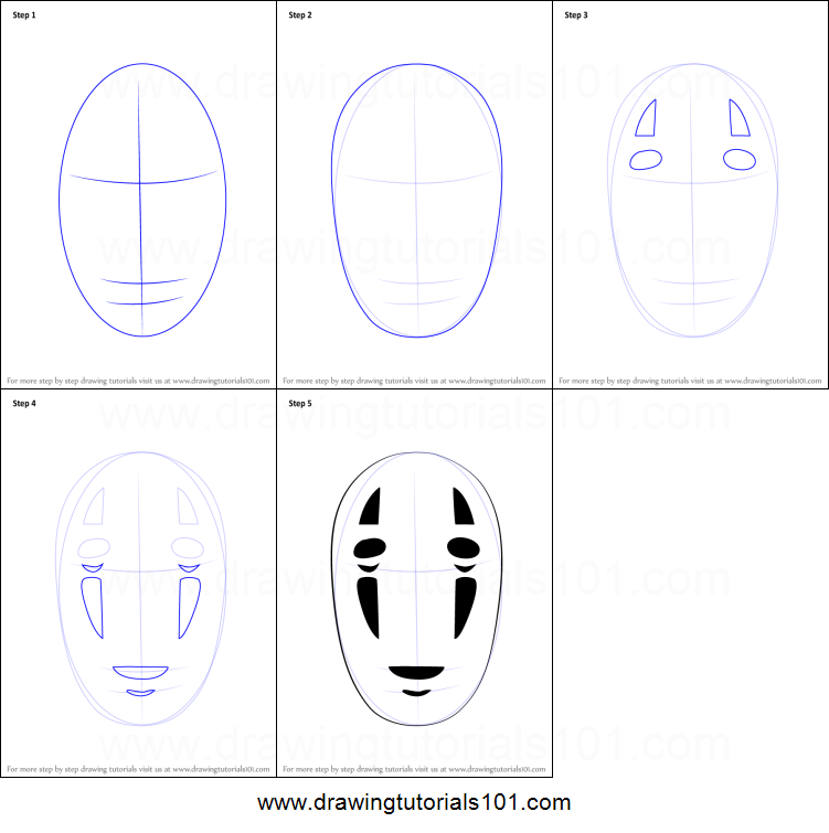 How To Draw No Face From Spirited Away Printable Step By Step Drawing Sheet Drawingtutorials101 Com