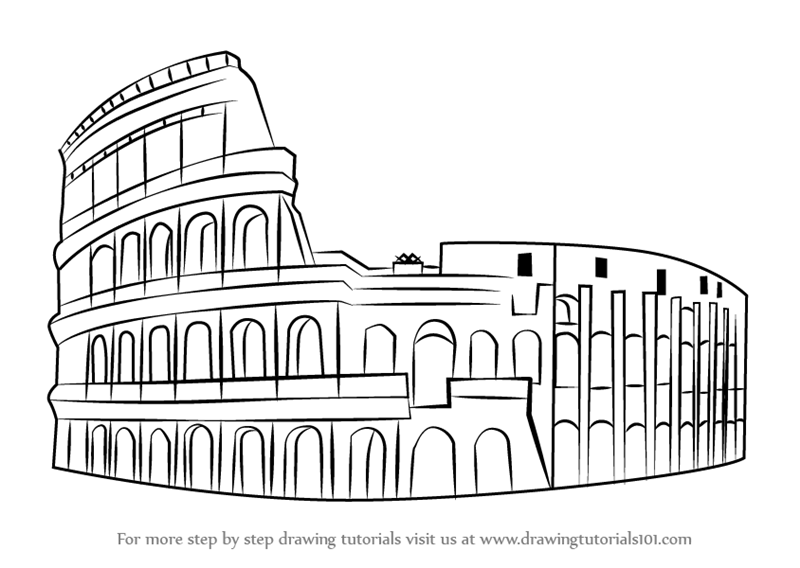 Learn How To Draw The Colosseum Wonders Of The World Step By Step
