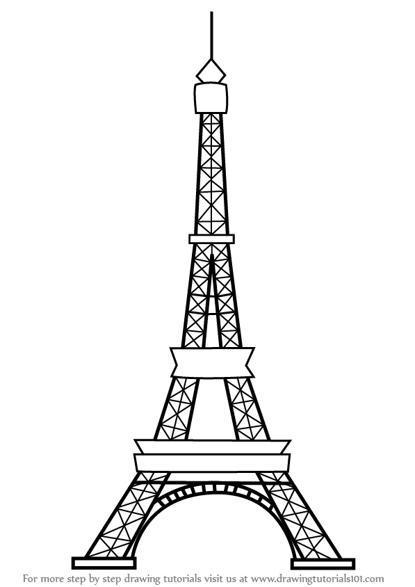 Learn how to draw an eiffel tower wonders of the world step by step drawing tutorials