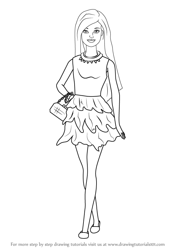 Learn How to Draw Barbie Doll in Skirt Barbie Step by Step