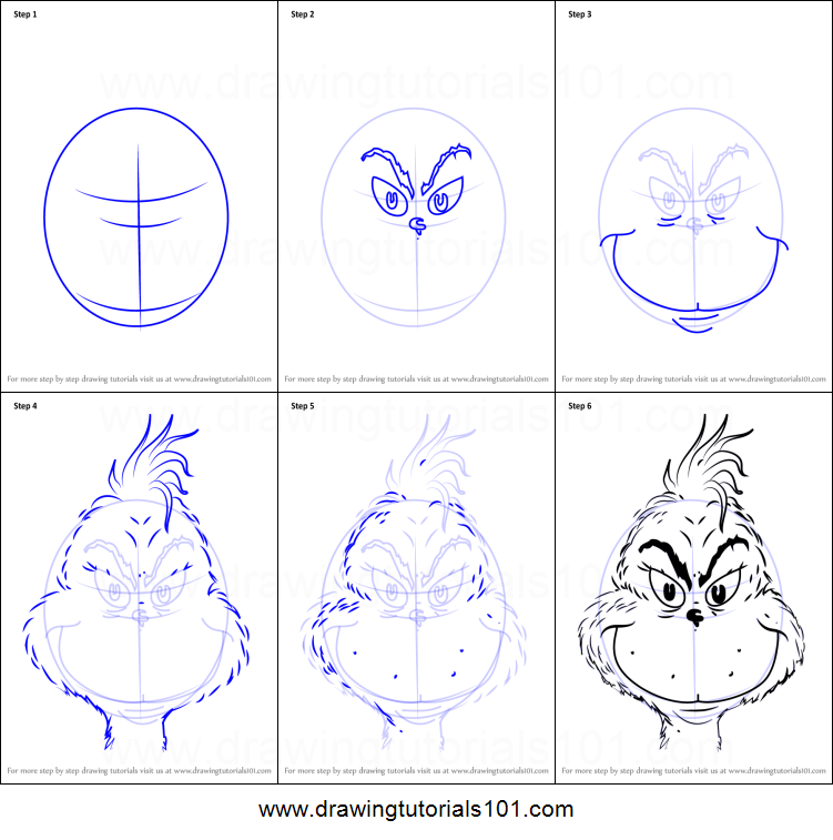 How To Draw The Grinch Face Printable Step By Step Drawing Sheet Drawingtutorials101 Com