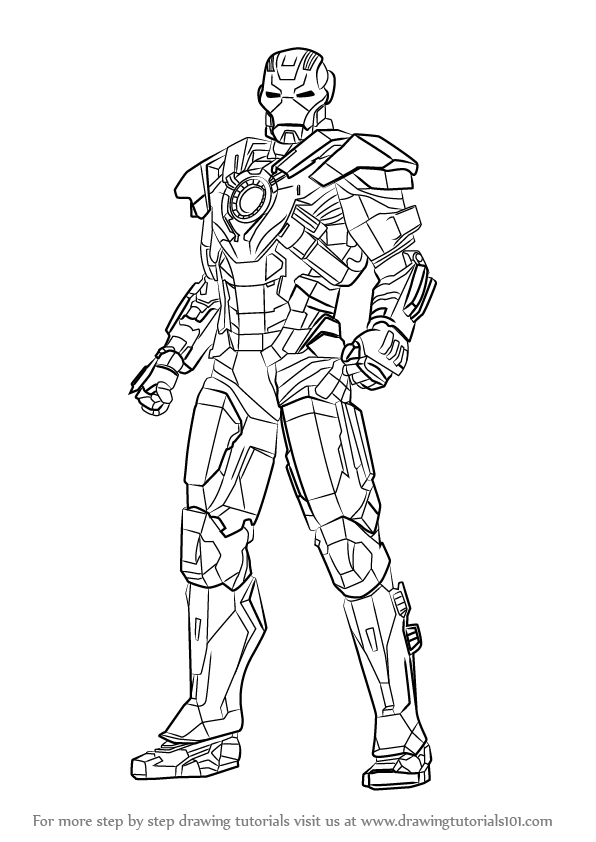 Learn How To Draw Iron Man Full Body Step By Drawing Tutorials