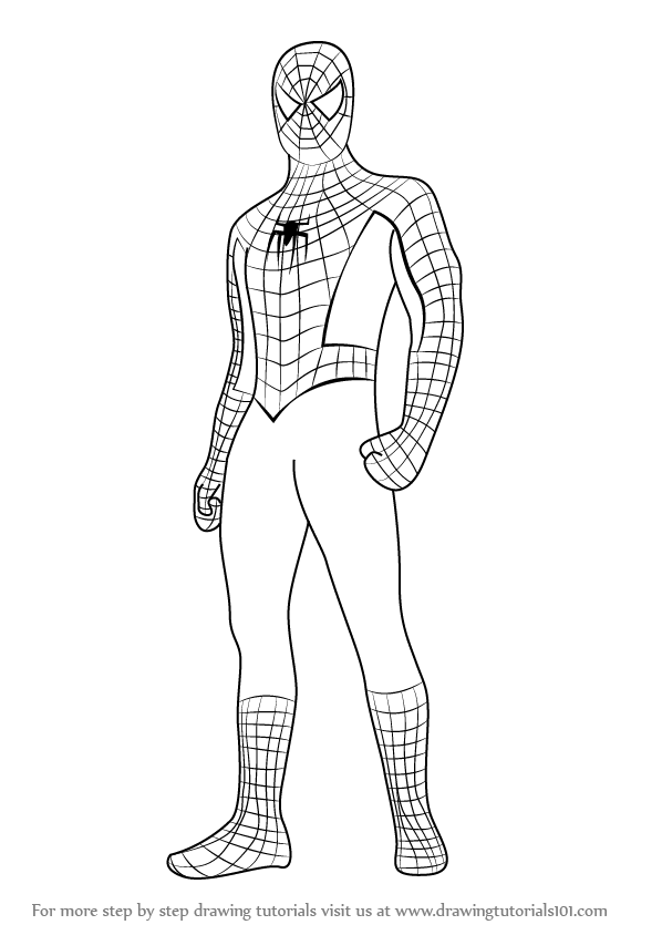 Learn how to draw spiderman standing spiderman step by step drawing tutorials