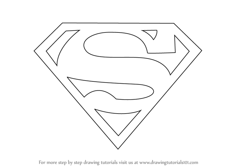 Learn How To Draw Superman Symbol Step By Drawing Tutorials