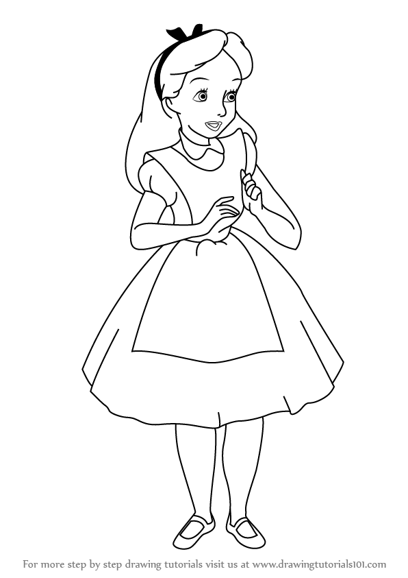 Alice In Wonderland Outline Drawing