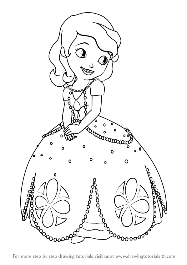 Learn how to draw princess sofia from sofia the first sofia the first step by step drawing tutorials