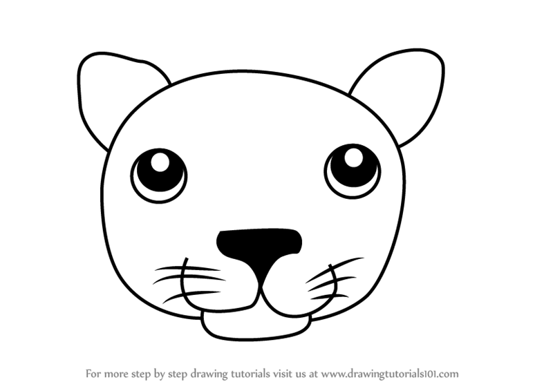 Learn How To Draw A Black Panther Face For Kids Animal Faces For Kids Step By Step Drawing Tutorials