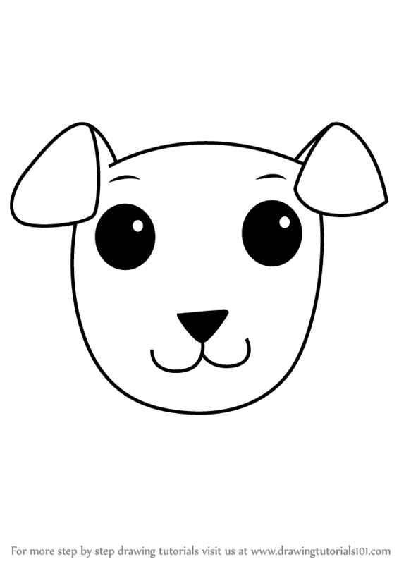 Learn How To Draw A Dog Face For Kids Animal Faces For Kids Step