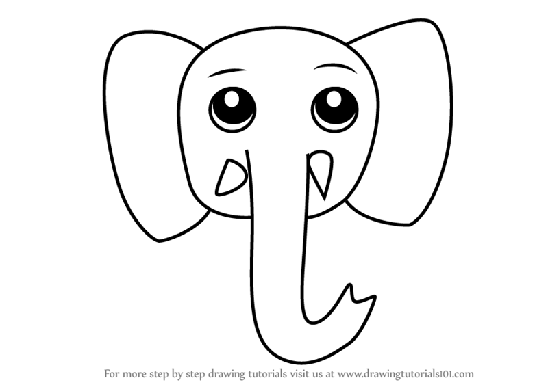 Learn How To Draw An Elephant Face For Kids Animal Faces For Kids Step By Step Drawing Tutorials