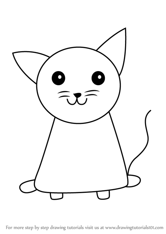 Learn How to Draw a Cat for Kids (Animals for Kids) Step by