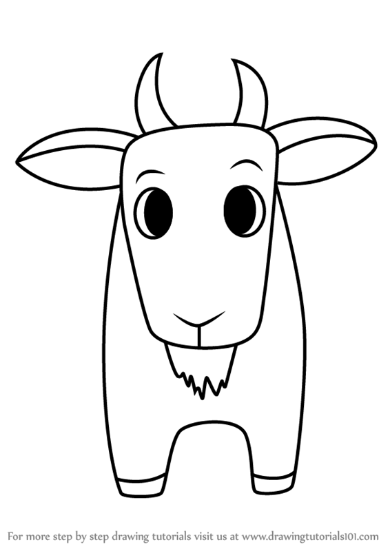 Step By Step How To Draw A Goat For Kids Easy Drawingtutorials101 Com