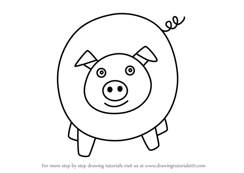 How To Draw A Pig For Kids Easy Video Drawingtutorials101 Com
