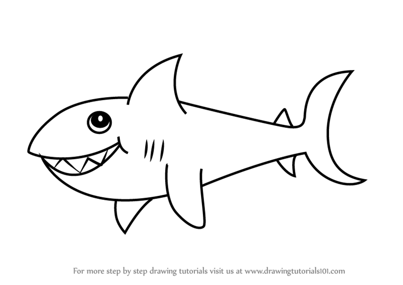 Learn How To Draw A Shark For Kids (Animals For Kids) Step By Step : Drawing  Tutorials