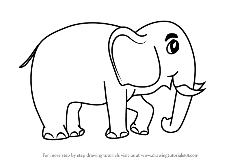 Learn How To Draw A Cartoon Elephant Cartoon Animals Step By Step Drawing Tutorials