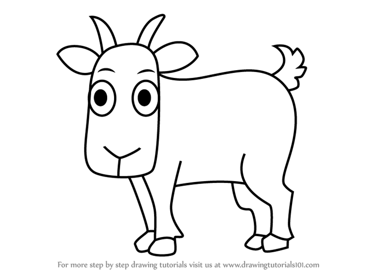 Learn How to Draw a Cartoon Goat (Cartoon Animals) Step by