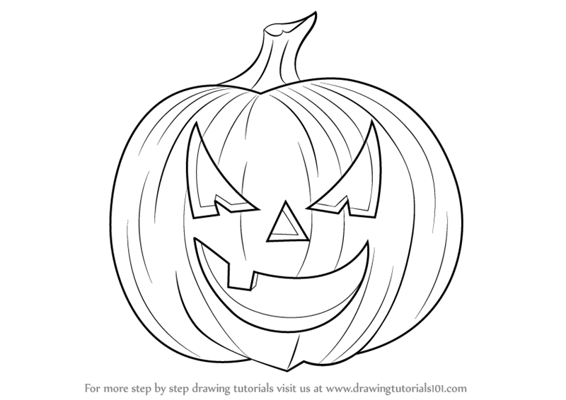 learn how to draw halloween pumpkin halloween step by step drawing tutorials - Halloween Pictures To Draw