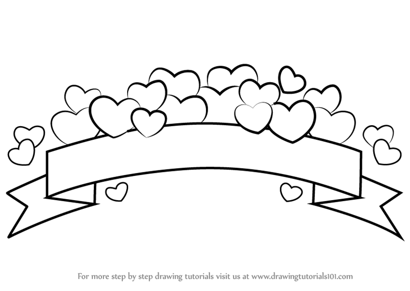 Learn how to draw a banner everyday objects step by step drawing tutorials