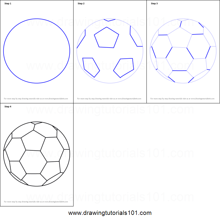 how to draw soccer ball printable step by step drawing sheet