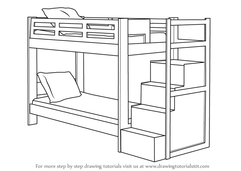 Learn How to Draw a Bunk Bed (Furniture) Step by Step : Drawing Tutorials