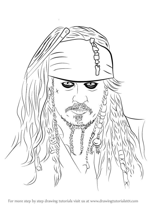 learn how to draw captain jack sparrow characters step by step drawing tutorials