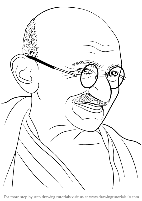 Learn How To Draw Mahatma Gandhi Politicians Step By Step Drawing Tutorials