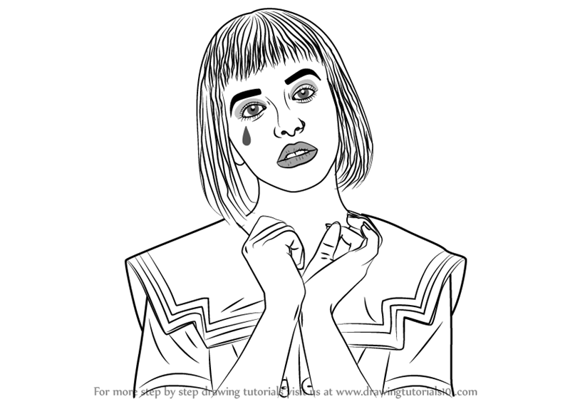 Learn How To Draw Melanie Martinez (Singers) Step By Step : Drawing  Tutorials