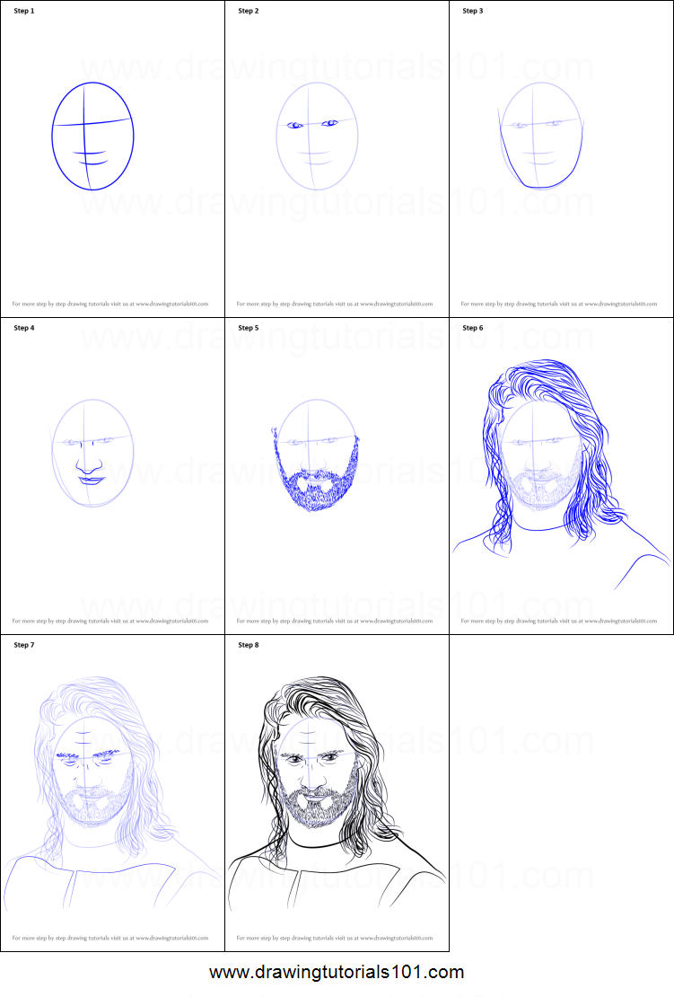 How To Draw Seth Rollins Printable Step By Step Drawing Sheet Drawingtutorials101 Com