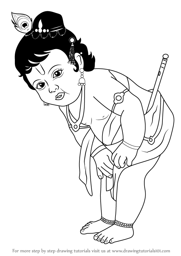 learn how to draw baby krishna (hinduism) step by step : drawing ... - Baby Krishna Images Coloring Pages