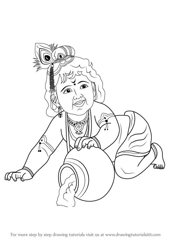 Learn How To Draw Baby Lord Krishna Hinduism Step By Step