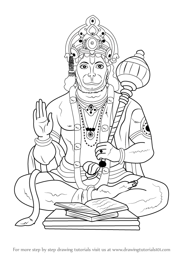 Learn How to Draw Lord Hanuman (Hinduism) Step by Step