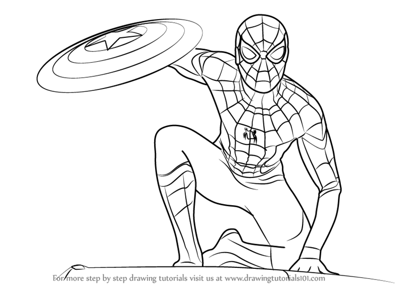 Learn how to draw spiderman from captain america civil war captain america civil war step by step drawing tutorials