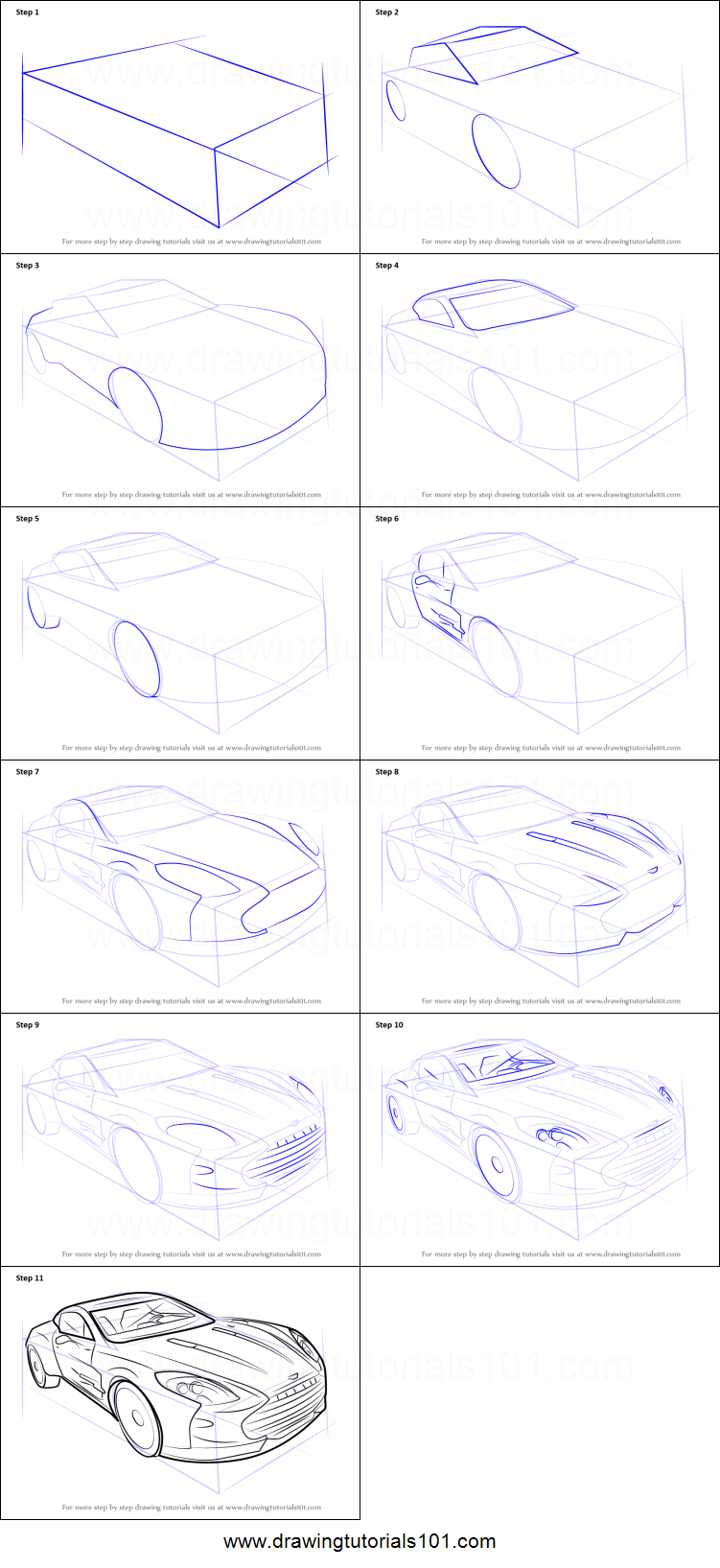 How To Draw Aston Martin One 77 Printable Step By Step Drawing Sheet Drawingtutorials101 Com