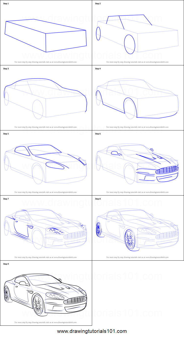 How To Draw Aston Martin Db9 Printable Step By Step Drawing Sheet Drawingtutorials101 Com