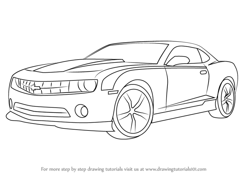 Learn How To Draw A Chevrolet Camaro Sports Cars Step By Drawing Tutorials
