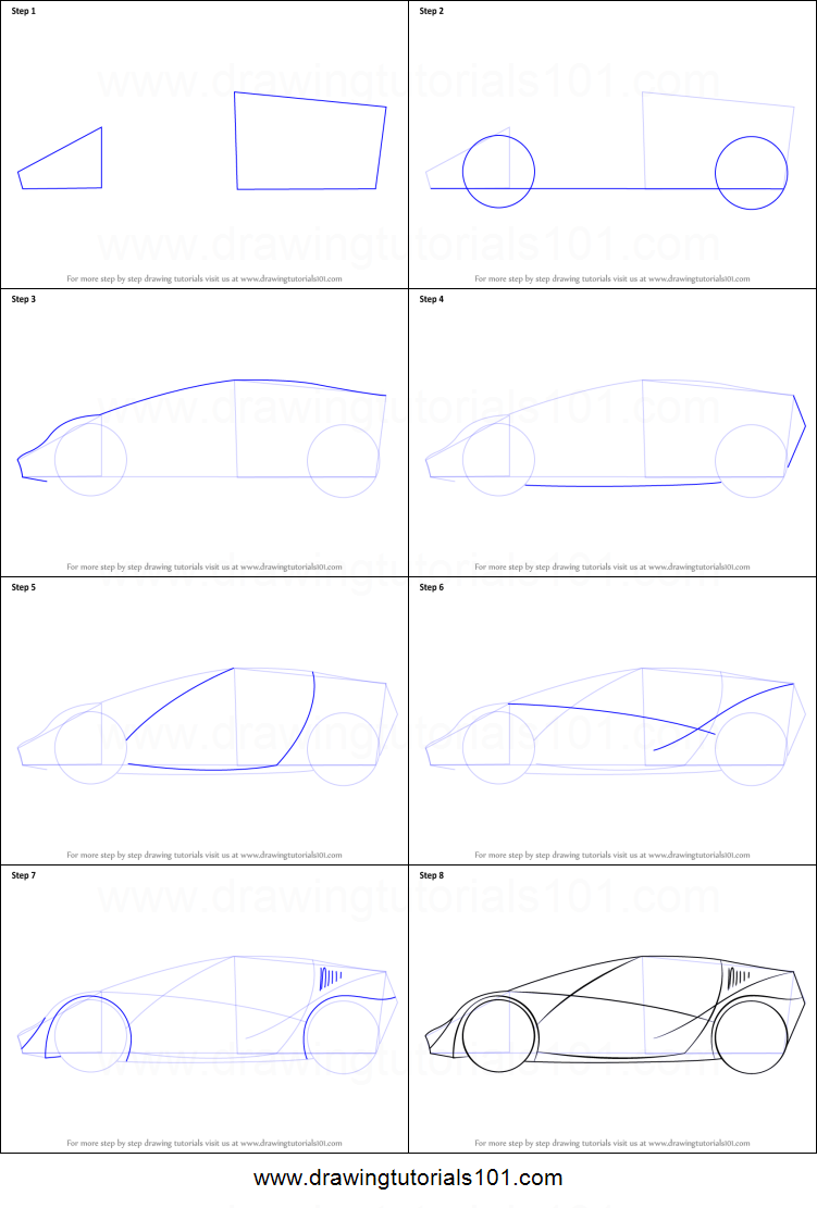 How To Draw A Sports Car For Kids Printable Step By Step Drawing Sheet Drawingtutorials101 Com