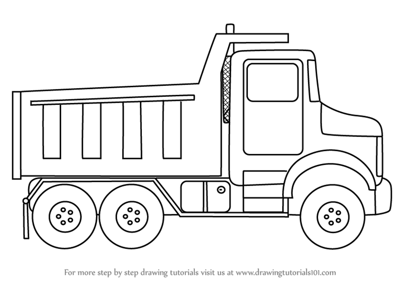 Learn How To Draw Simple Dump Truck Trucks Step By Drawing Tutorials
