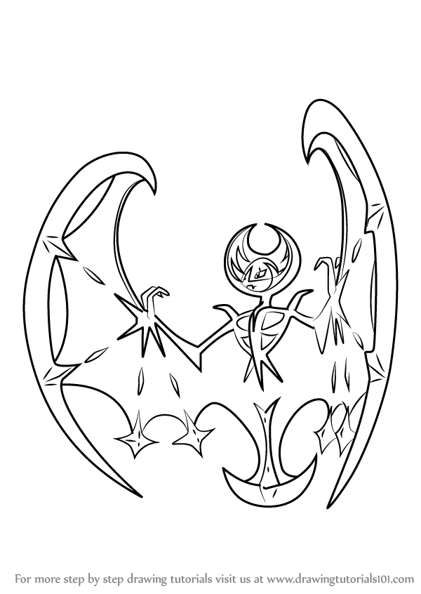 Learn How To Draw Lunala From Pokemon Sun And Moon Pokmon Sun And