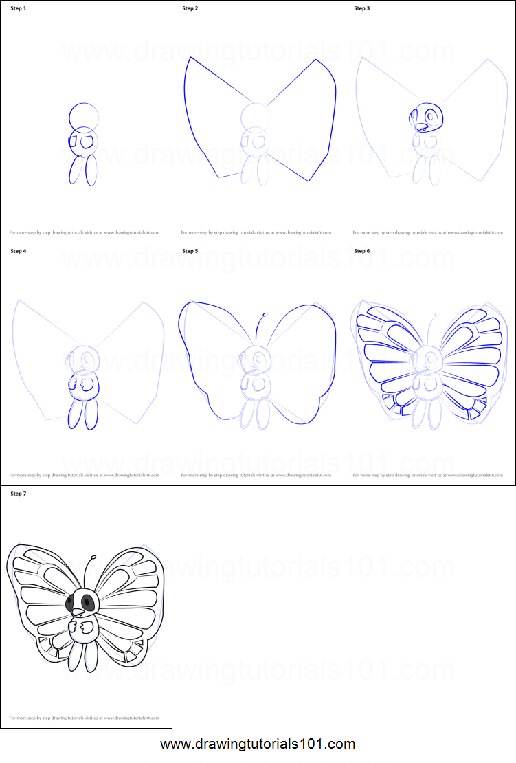 How To Draw Butterfree From Pokemon Go Printable Step By Step Drawing Sheet Drawingtutorials101 Com
