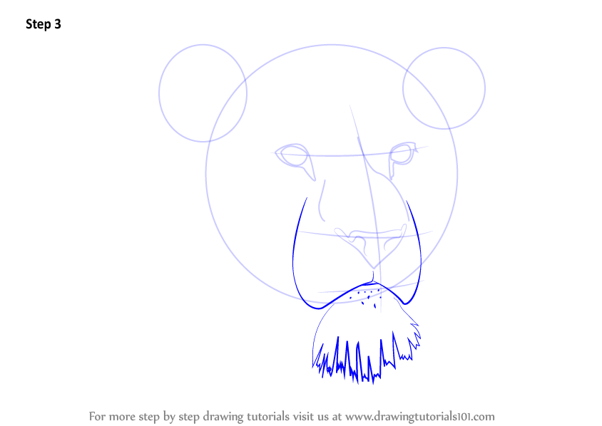 Learn How to Draw Lion Head (Big Cats) Step by Step : Drawing Tutorials