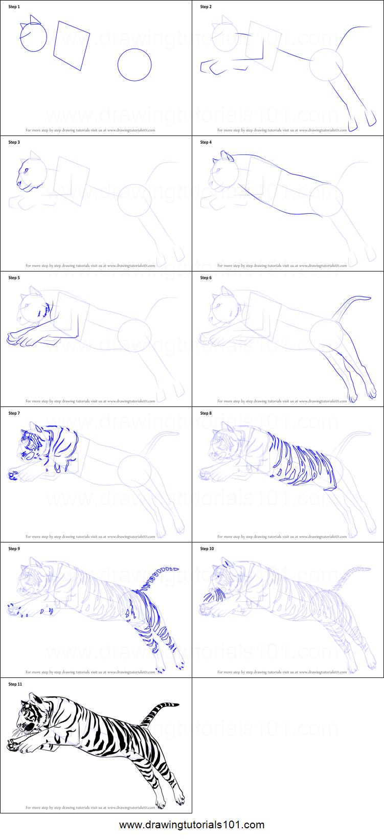 Uncategorized How To Draw A Tiger Step By Step how to draw a tiger jumping printable step by drawing sheet drawingtutorials101 com