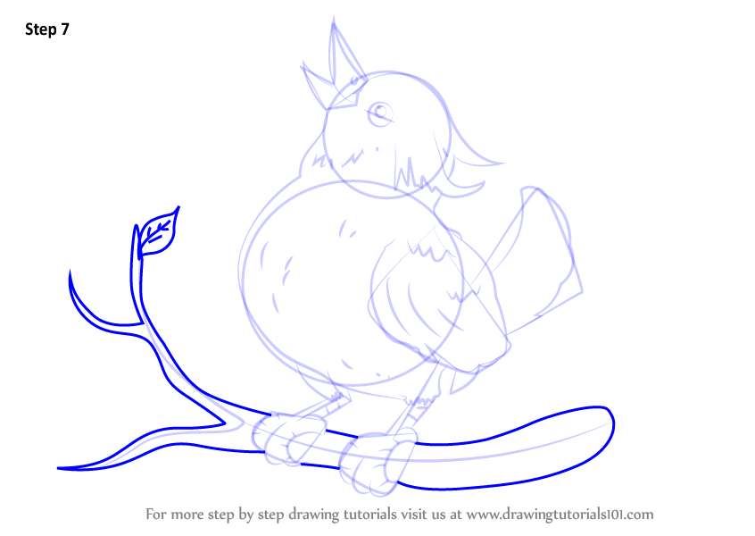 how to draw a bird sitting easy step by step