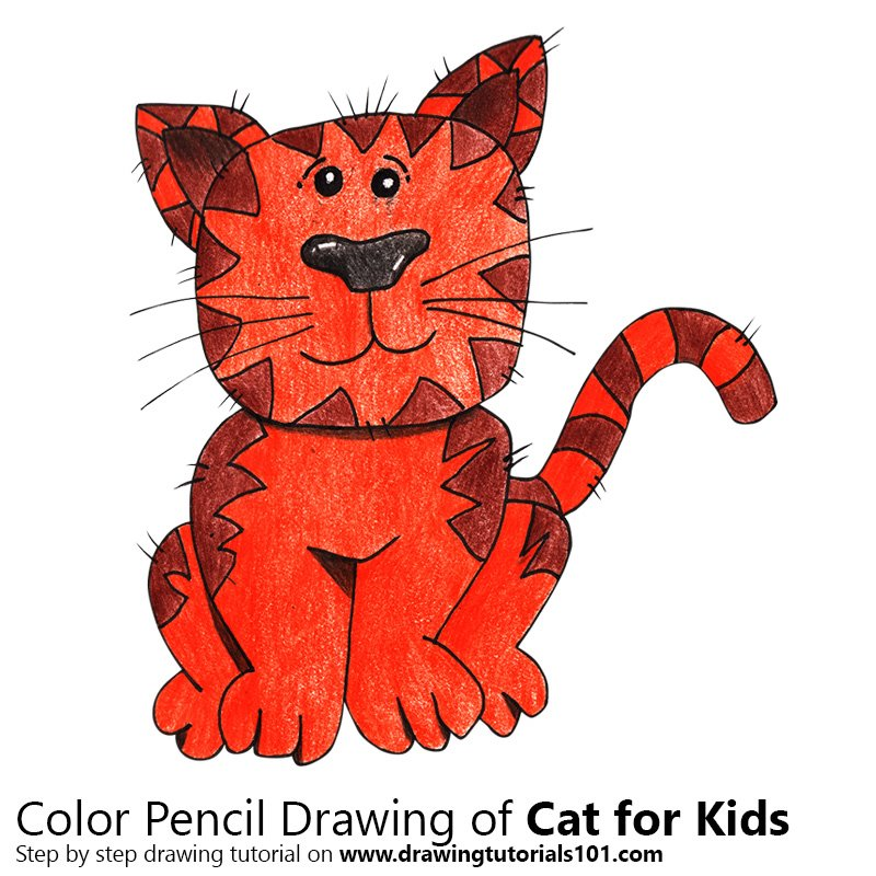 Cat For Kids Colored Pencils Drawing Cat For Kids With Color Pencils Drawingtutorials101 Com
