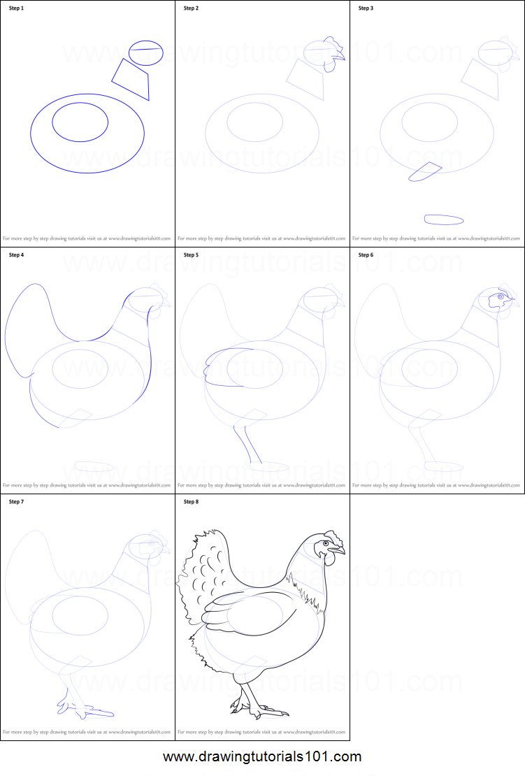 Uncategorized How To Draw A Chicken Step By Step how to draw a chicken printable step by drawing sheet drawingtutorials101 com