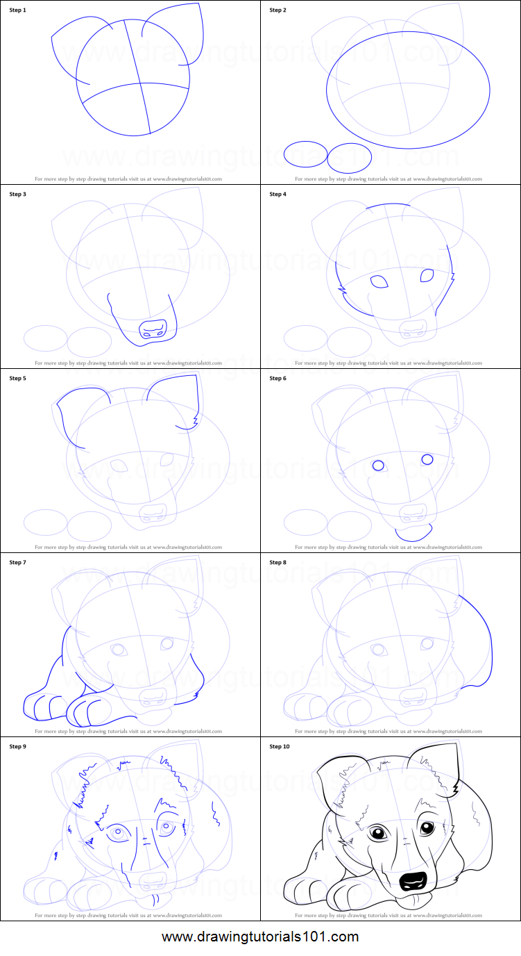 How to Draw German Shepherd Puppy printable step by step drawing