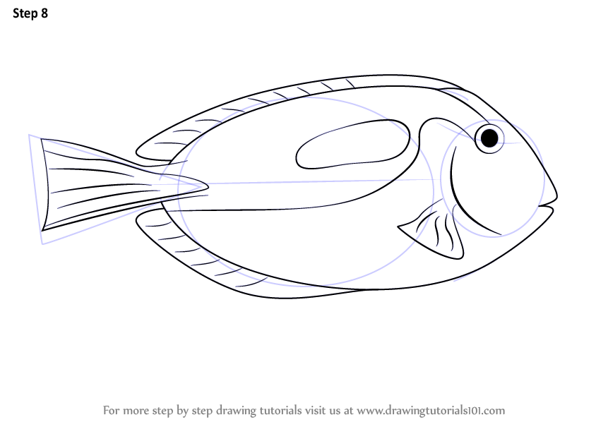 Step By Step How To Draw A Blue Tang DrawingTutorials101