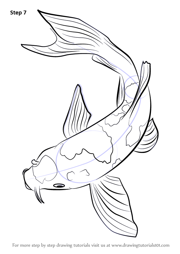 Koi fish drawing outline - photo#12
