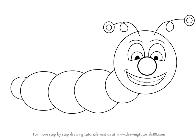 Learn how to draw a caterpillar for kids insects step by step drawing tutorials